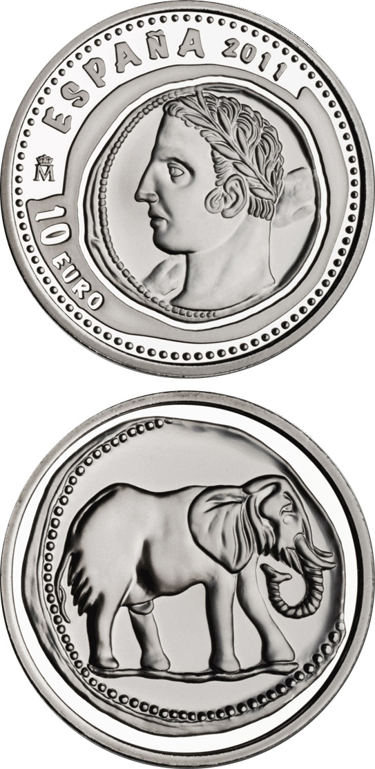 Image of 10 euro coin 3rd Series Numismatic Treasures – Hispanic-Carthaginian 1.5 shekel coin | Spain 2011.  The Silver coin is of Proof quality.