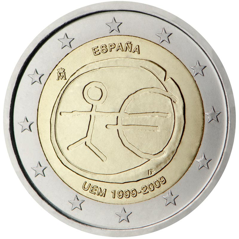 Image of 2 euro coin - 10th Anniversary of the Introduction of the Euro | Spain 2009