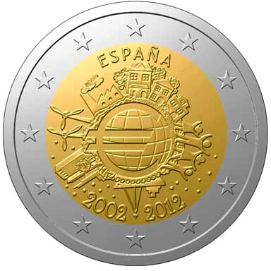 Image of 2 euro coin - Ten years of Euro  | Spain 2012