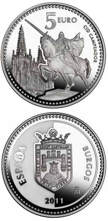 Image of 5 euro coin - Burgos | Spain 2011.  The Silver coin is of Proof quality.