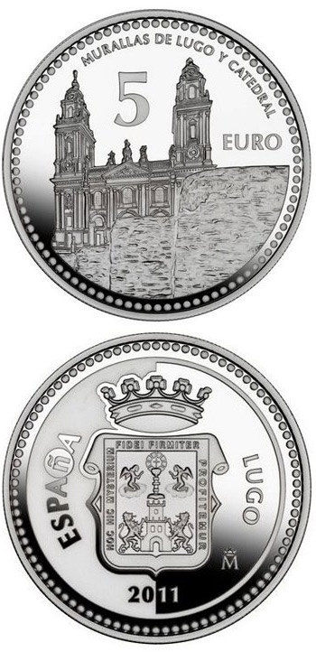 Image of 5 euro coin - Lugo | Spain 2011.  The Silver coin is of Proof quality.