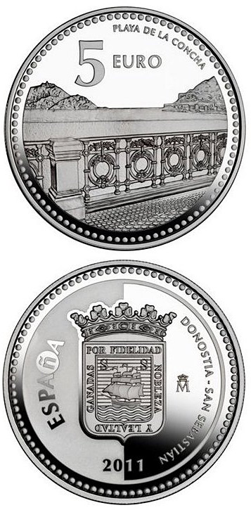 Image of 5 euro coin - Donostia-San Sebastián | Spain 2011.  The Silver coin is of Proof quality.