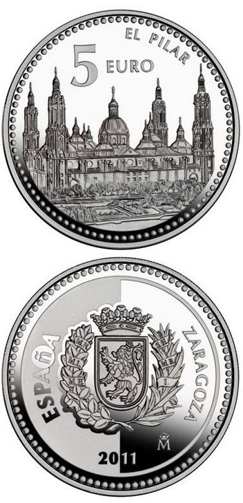 Image of 5 euro coin Zaragoza | Spain 2011.  The Silver coin is of Proof quality.