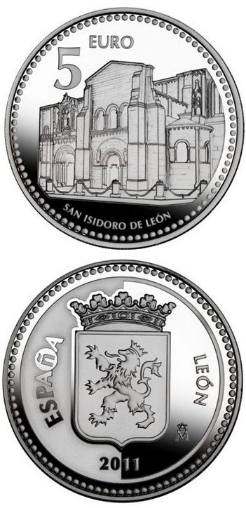 Image of 5 euro coin León | Spain 2011.  The Silver coin is of Proof quality.