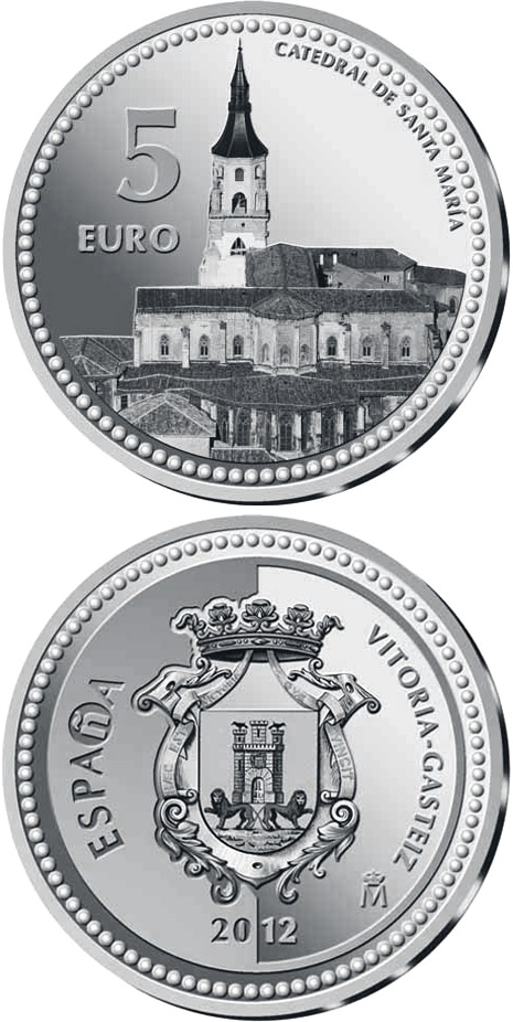 Image of 5 euro coin - Vitoria-Gasteiz | Spain 2012.  The Silver coin is of Proof quality.