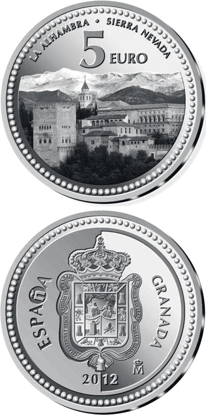 Image of 5 euro coin - Granada | Spain 2012.  The Silver coin is of Proof quality.