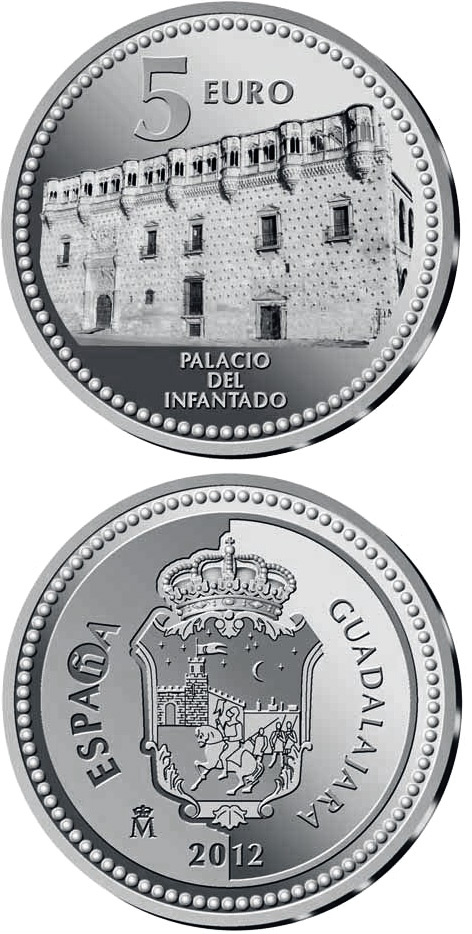 Image of 5 euro coin – Guadalajara | Spain 2012.  The Silver coin is of Proof quality.