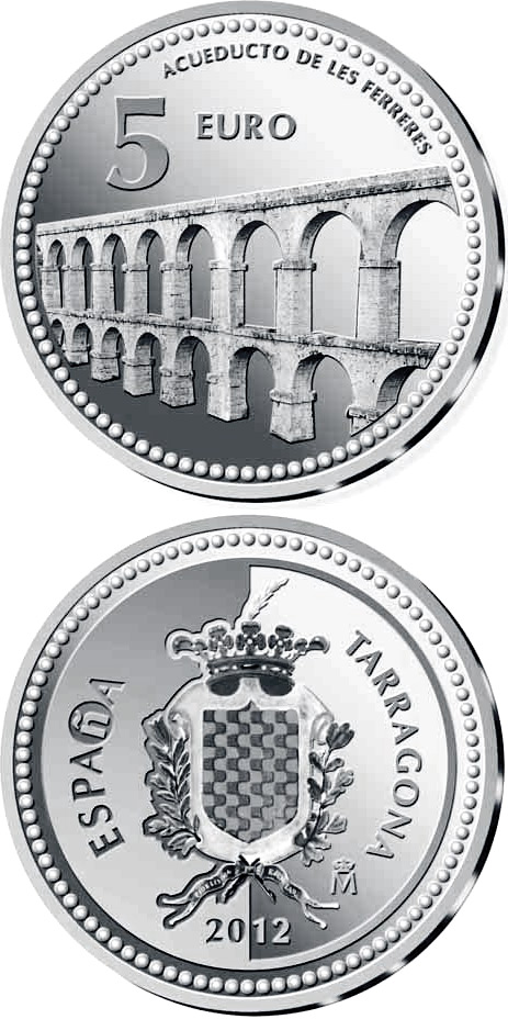 Image of 5 euro coin - Tarragona | Spain 2012.  The Silver coin is of Proof quality.