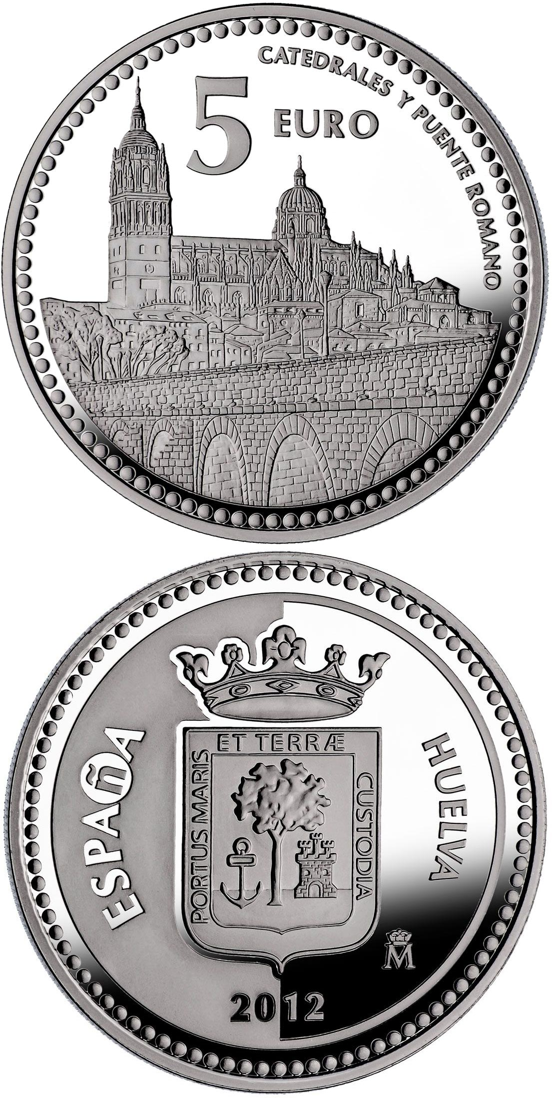 Image of 5 euro coin - Salamanca | Spain 2012.  The Silver coin is of Proof quality.