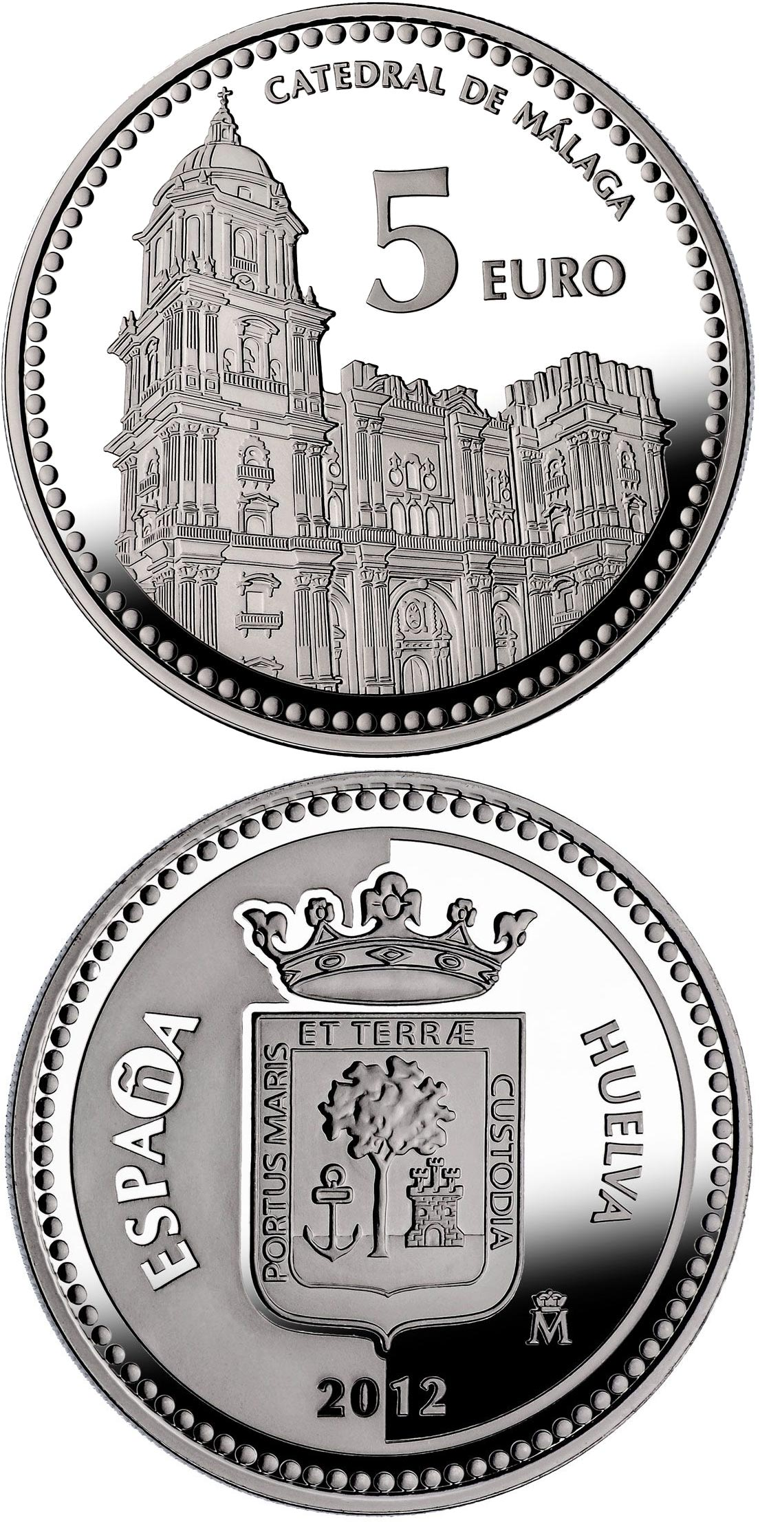 Image of 5 euro coin - Málaga | Spain 2012.  The Silver coin is of Proof quality.
