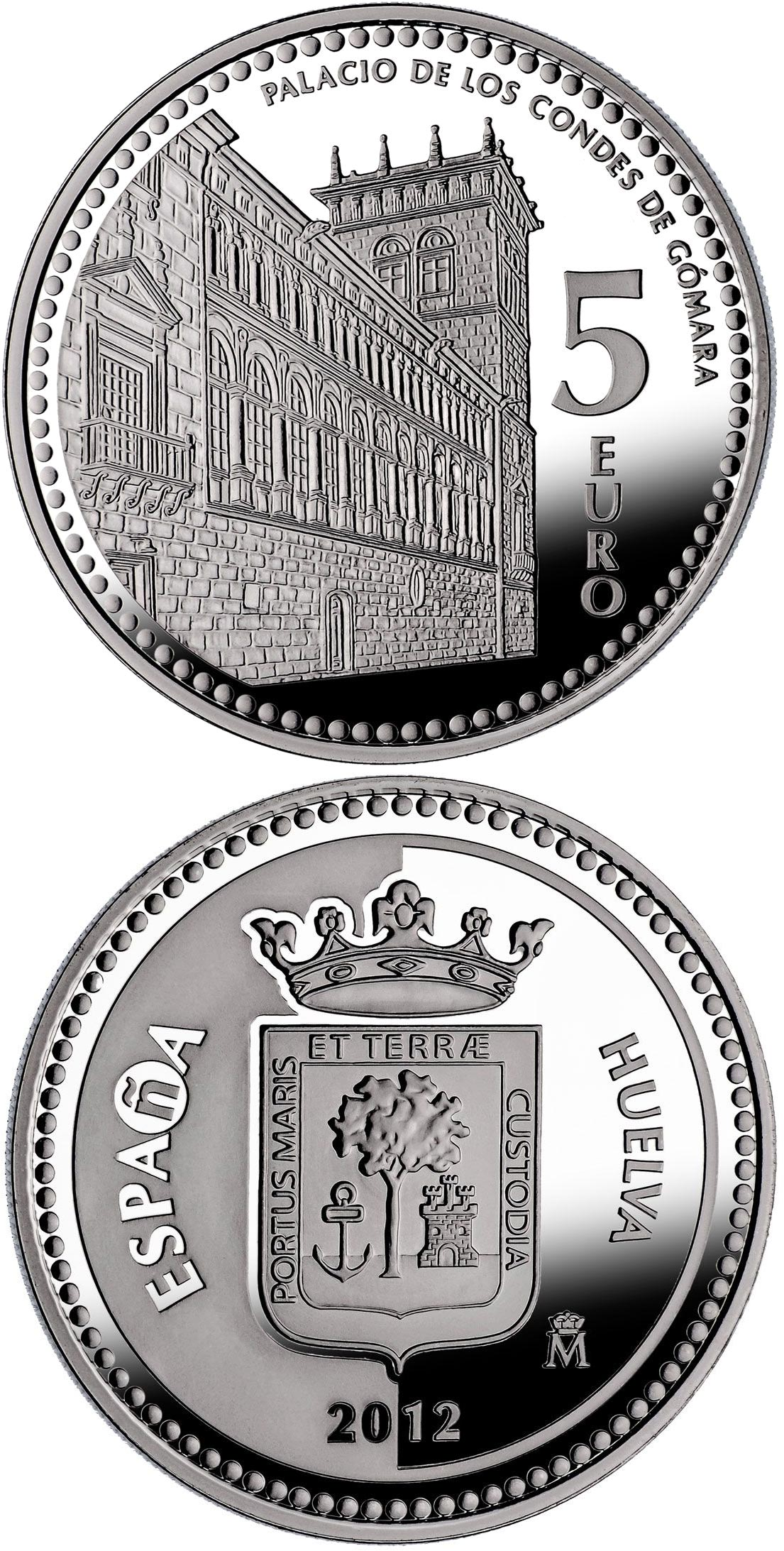Image of 5 euro coin - Soria | Spain 2012.  The Silver coin is of Proof quality.