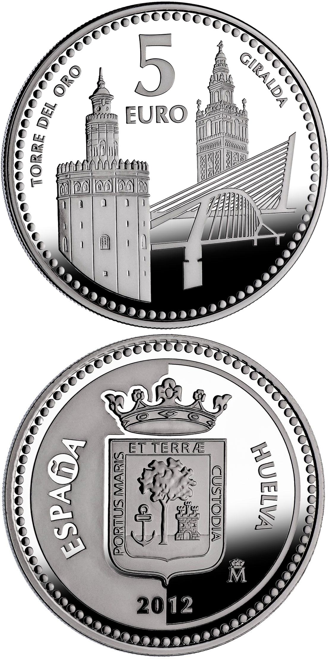 Image of 5 euro coin - Sevilla | Spain 2012.  The Silver coin is of Proof quality.