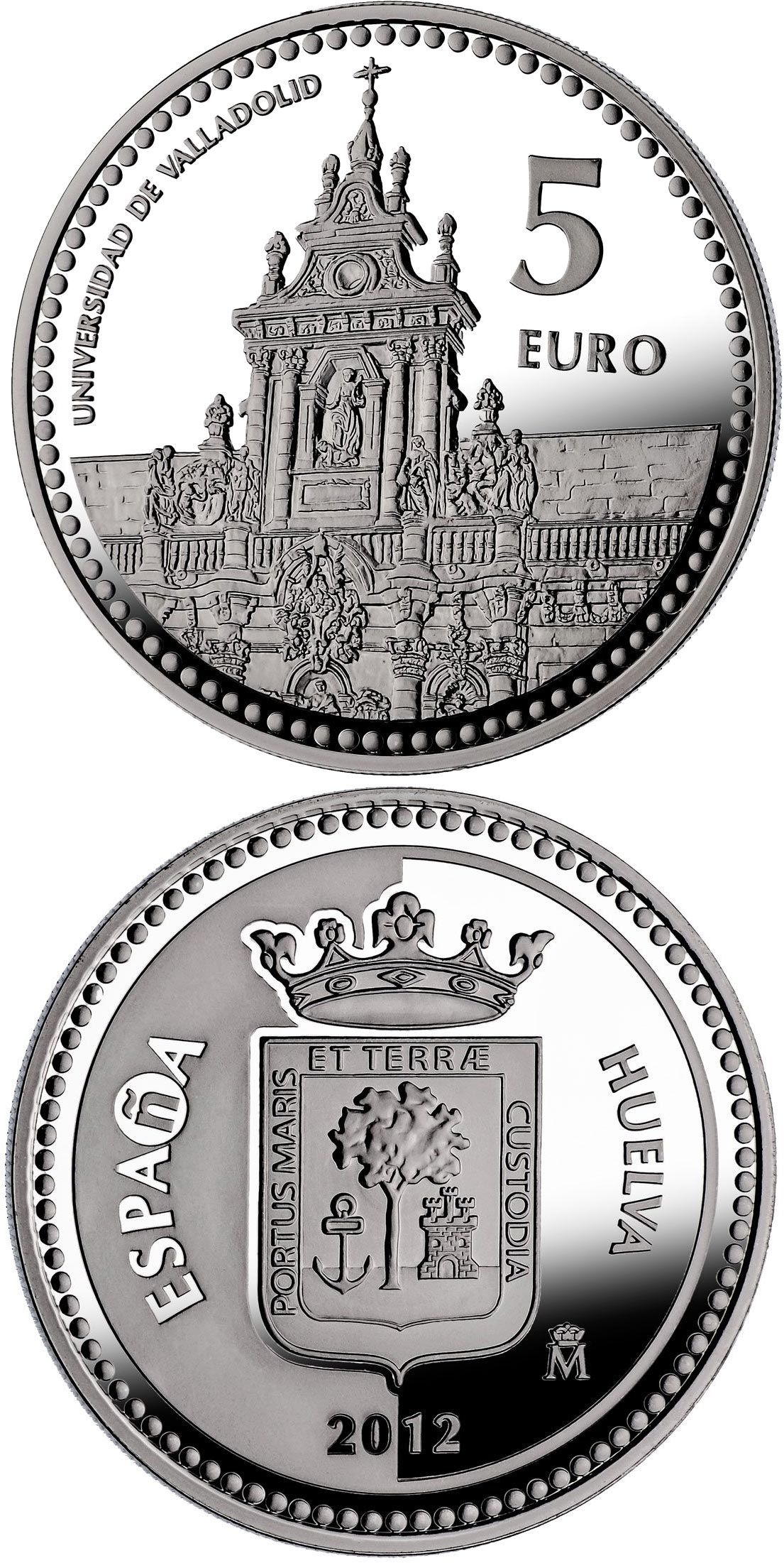 Image of 5 euro coin - Valladolid | Spain 2012.  The Silver coin is of Proof quality.
