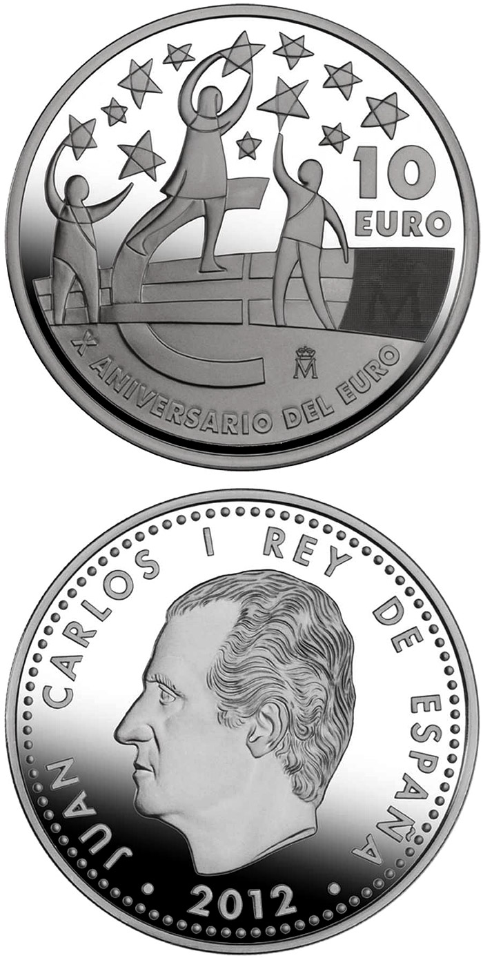 Image of 10 euro coin - 10th Anniversary of the Euro | Spain 2012.  The Silver coin is of Proof quality.