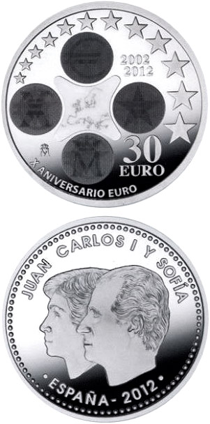 Image of a coin 30 euro | Spain | 10th Anniversary of the Euro | 2012