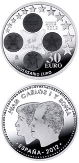 30 euro 10th Anniversary of the Euro - 2012 - Series: Silver 12 euro and 20 euro coins - Spain