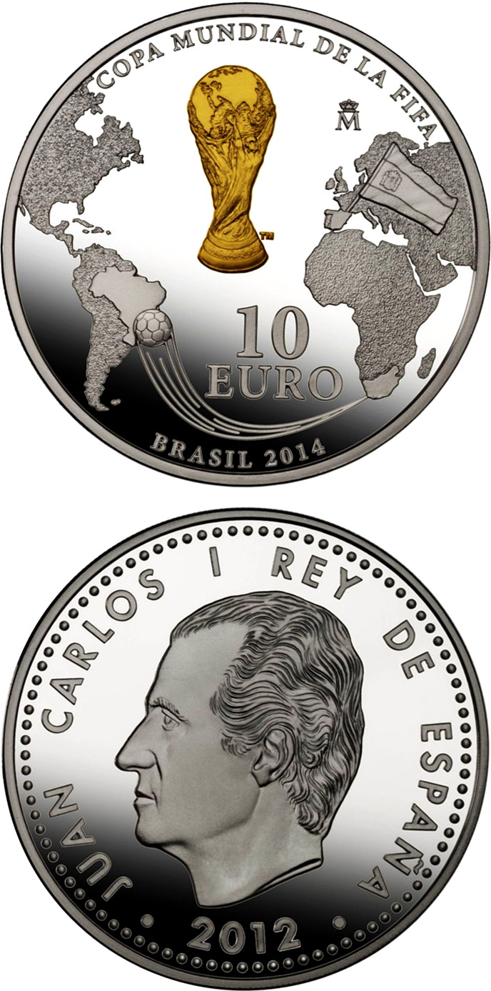 Image of 10 euro coin – FIFA - Transfer coin - South Africa to Brasil | Spain 2012.  The Silver coin is of Proof quality.