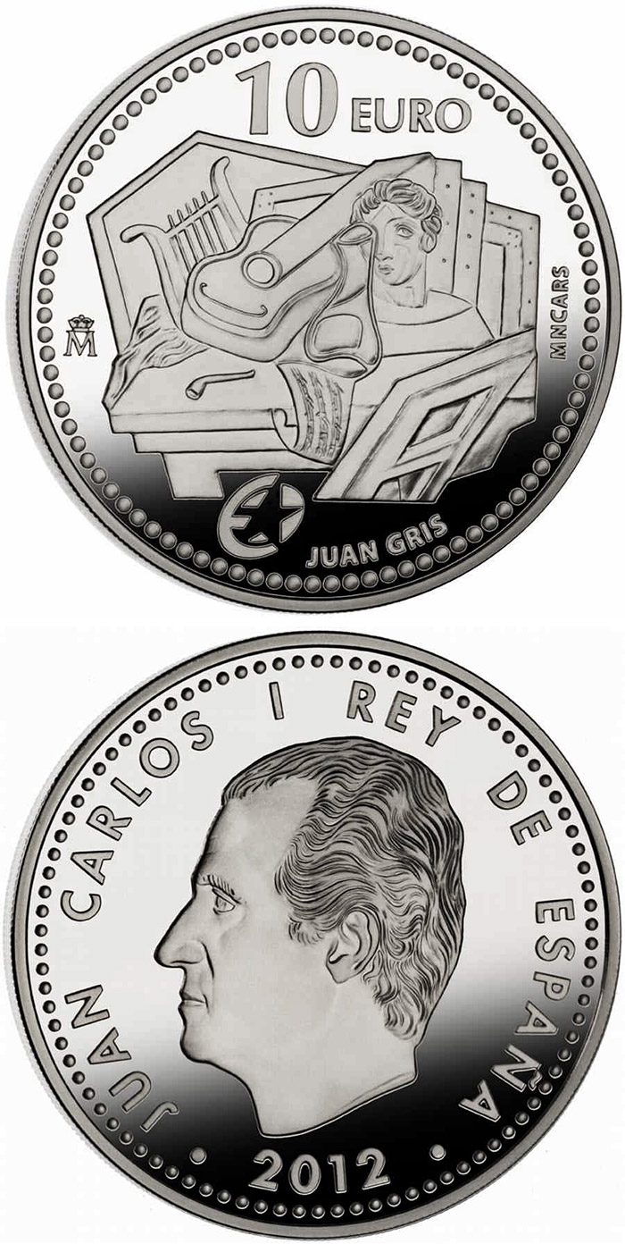 Image of 10 euro coin - Juan Gris | Spain 2012.  The Silver coin is of Proof quality.