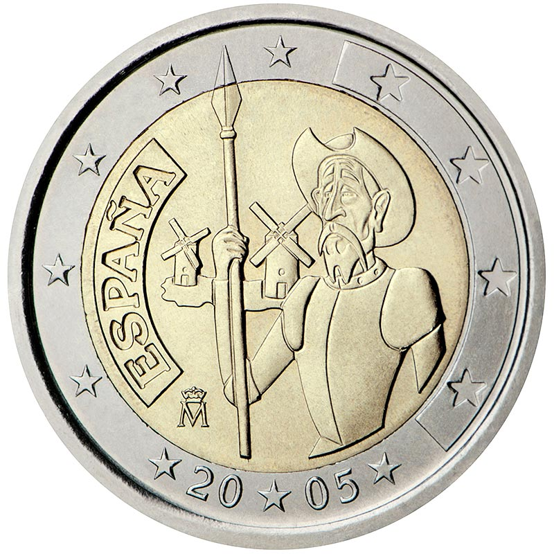 Image of 2 euro coin – 4th centenary of the first edition of Miguel de Cervantes' The ingenious gentleman Don Quixote of La Mancha | Spain 2005