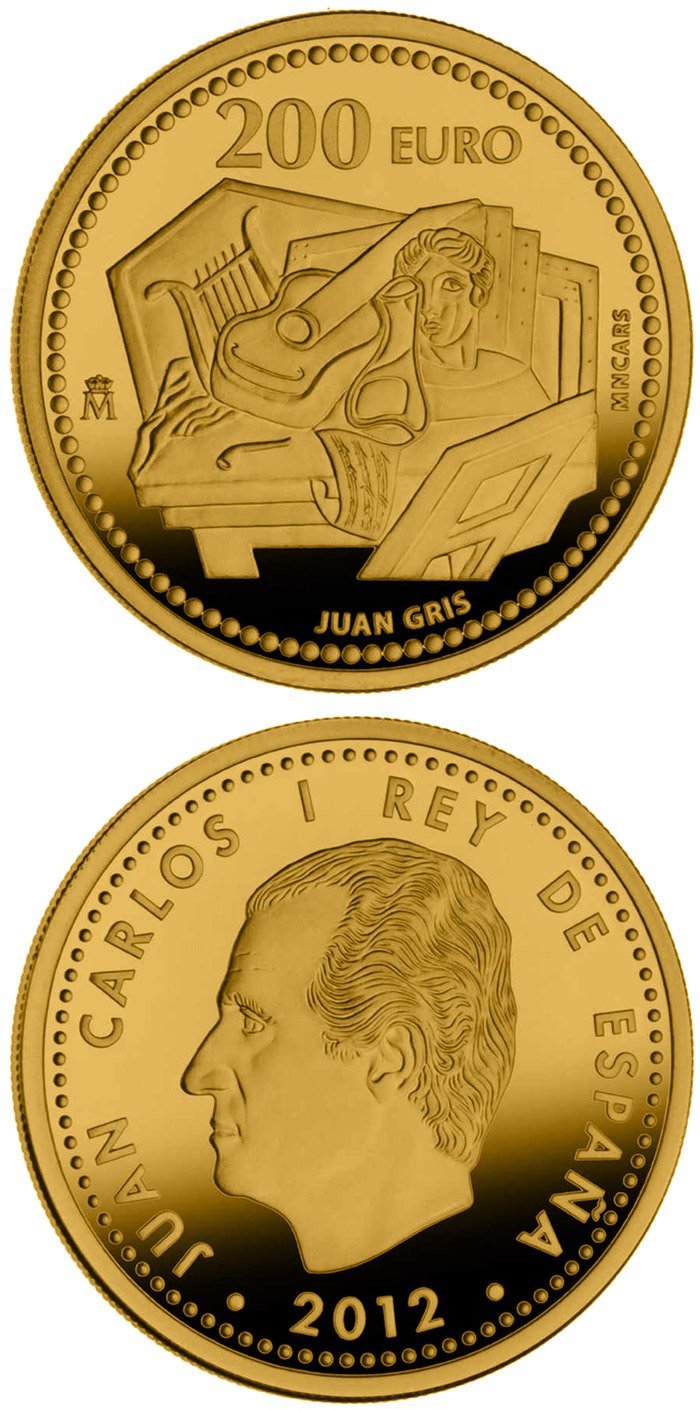 Image of 200 euro coin - Juan Gris | Spain 2012.  The Gold coin is of Proof quality.