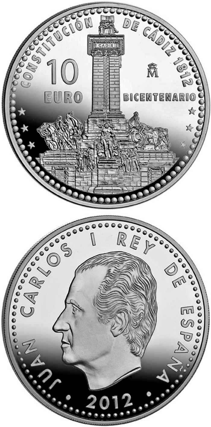 Image of 10 euro coin 200th Anniversary of the Spanish Constitution  | Spain 2012.  The Silver coin is of Proof quality.
