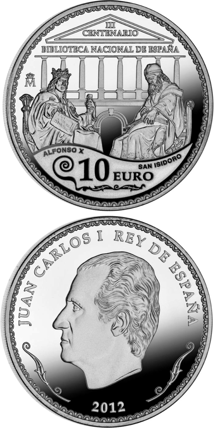 Image of a coin 10 euro | Spain | 300th Anniversary of the National Library of Spain  | 2012