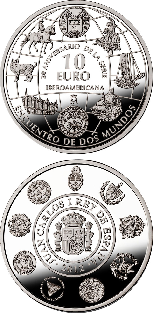 Image of 20th Anniversary of the Ibero-American Series – 10 euro coin Spain 2012.  The Silver coin is of Proof quality.