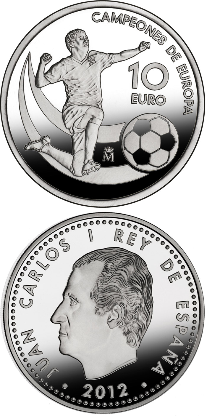 Image of 10 euro coin - UEFA EURO 2012 Champions of Europe | Spain 2012.  The Silver coin is of Proof quality.