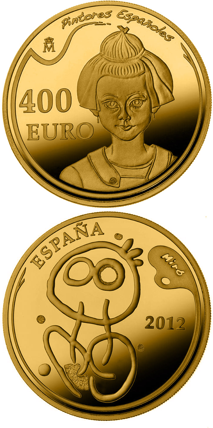 Image of 400 euro coin - 5th Series Spanish Painters - Joan Miró | Spain 2012.  The Gold coin is of Proof quality.