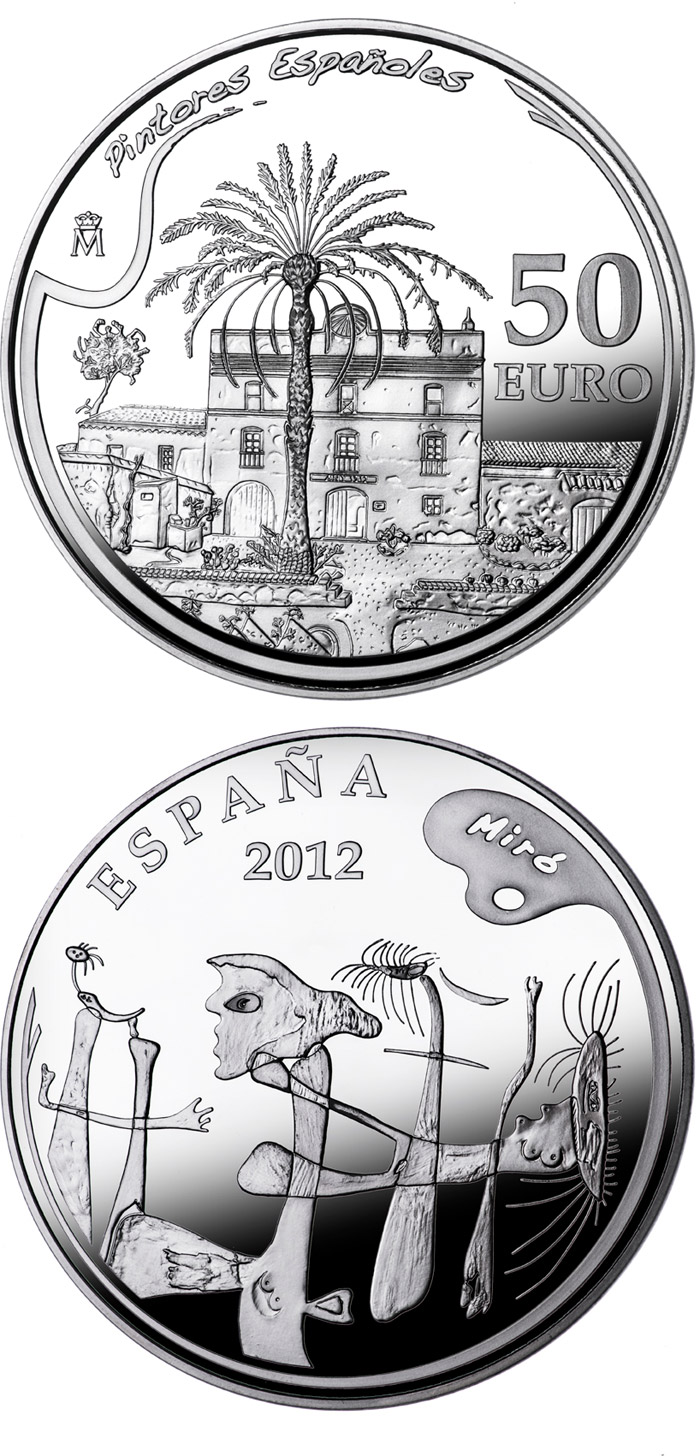 Image of 50 euro coin - 5th Series Spanish Painters - Joan Miró | Spain 2012.  The Silver coin is of Proof quality.