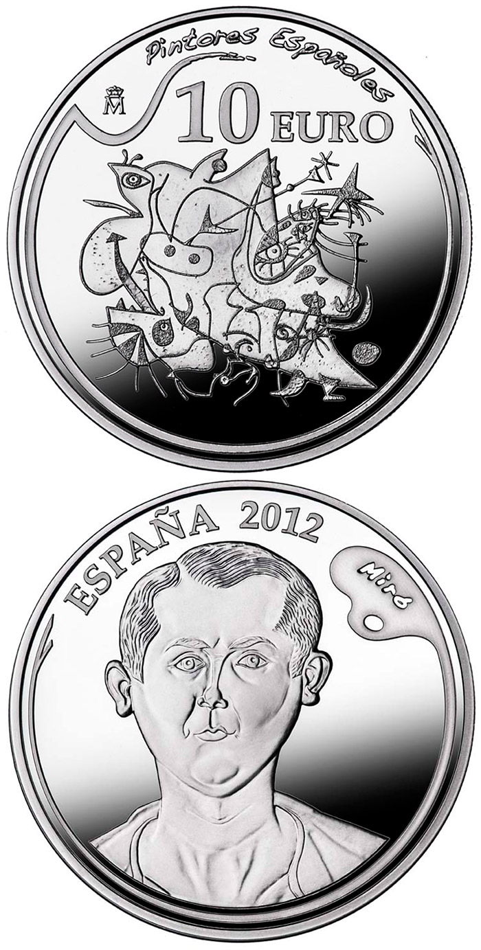 Image of 10 euro coin – 5th Series Spanish Painters - Joan Miró | Spain 2012.  The Silver coin is of Proof quality.
