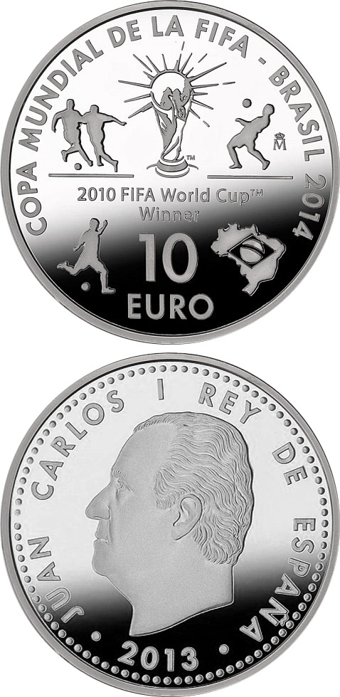 Image of 10 euro coin – 2014 FIFA World Cup Brazil | Spain 2013.  The Silver coin is of Proof quality.