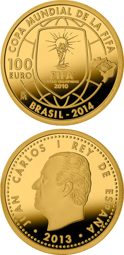 Image of a coin 100 euro | Spain | 2014 FIFA World Cup Brazil | 2013