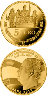 5 euro coin 75th birthday of His Majesty the King | Spain 2013