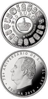 10 euro coin 75th birthday of His Majesty the King | Spain 2013