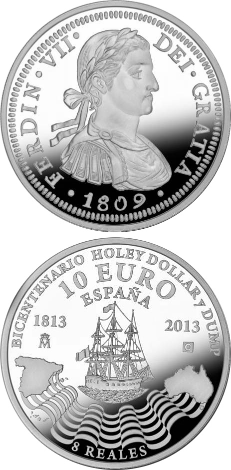 Image of 10 euro coin – Bi-Centennial of the Holey Dollar and the Dump | Spain 2013.  The Silver coin is of Proof quality.