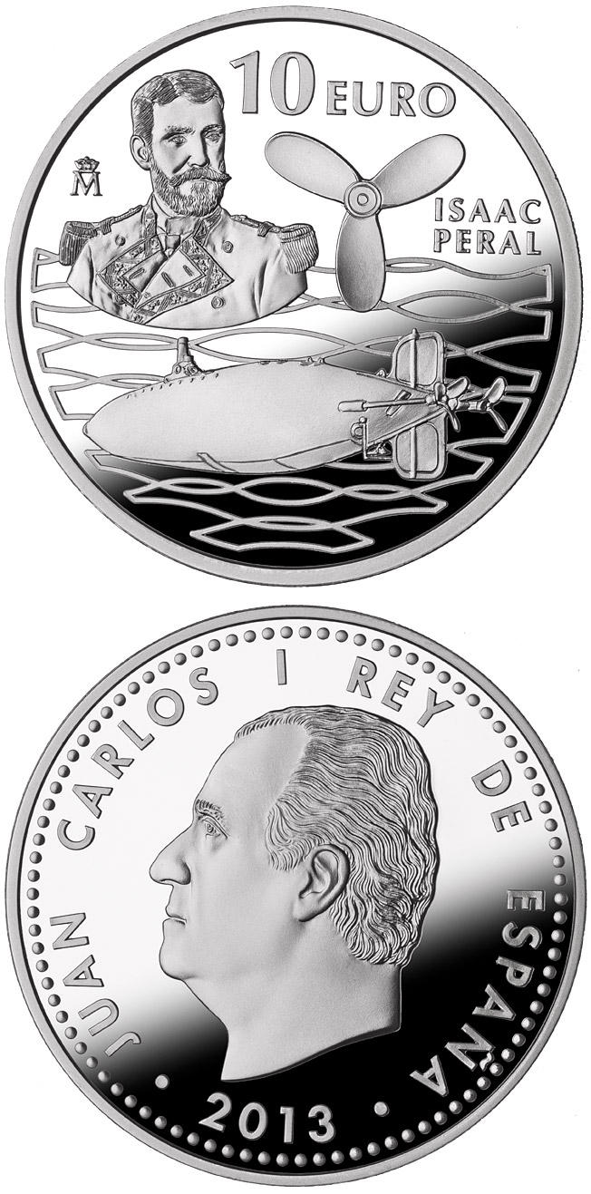 Image of 10 euro coin - 125th Anniversary of the Peral Submarine - Isaac Peral | Spain 2013.  The Silver coin is of Proof quality.