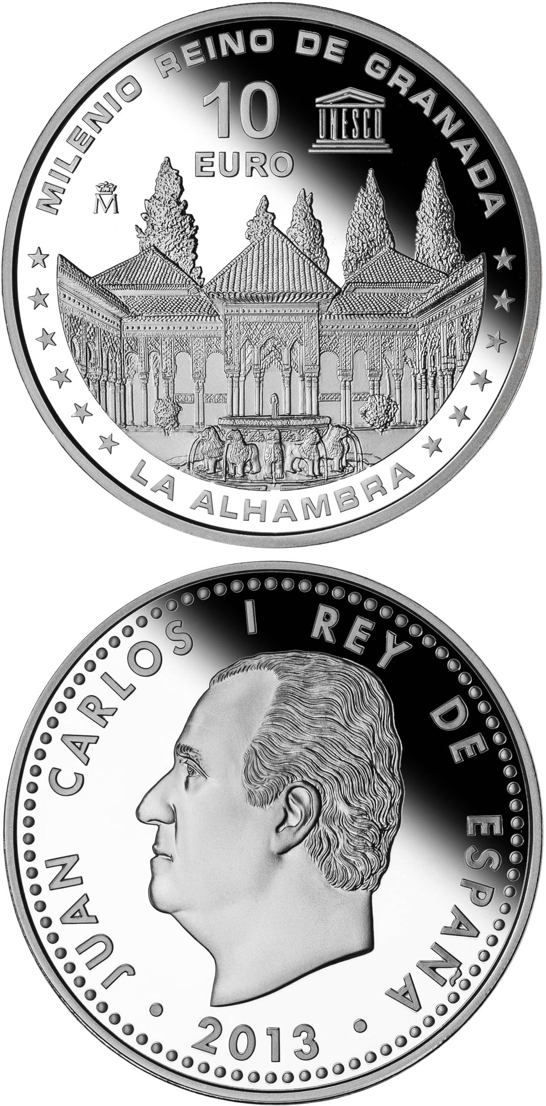 Image of 10 euro coin – Millennium of the Kingdom of Granada | Spain 2013.  The Silver coin is of Proof quality.