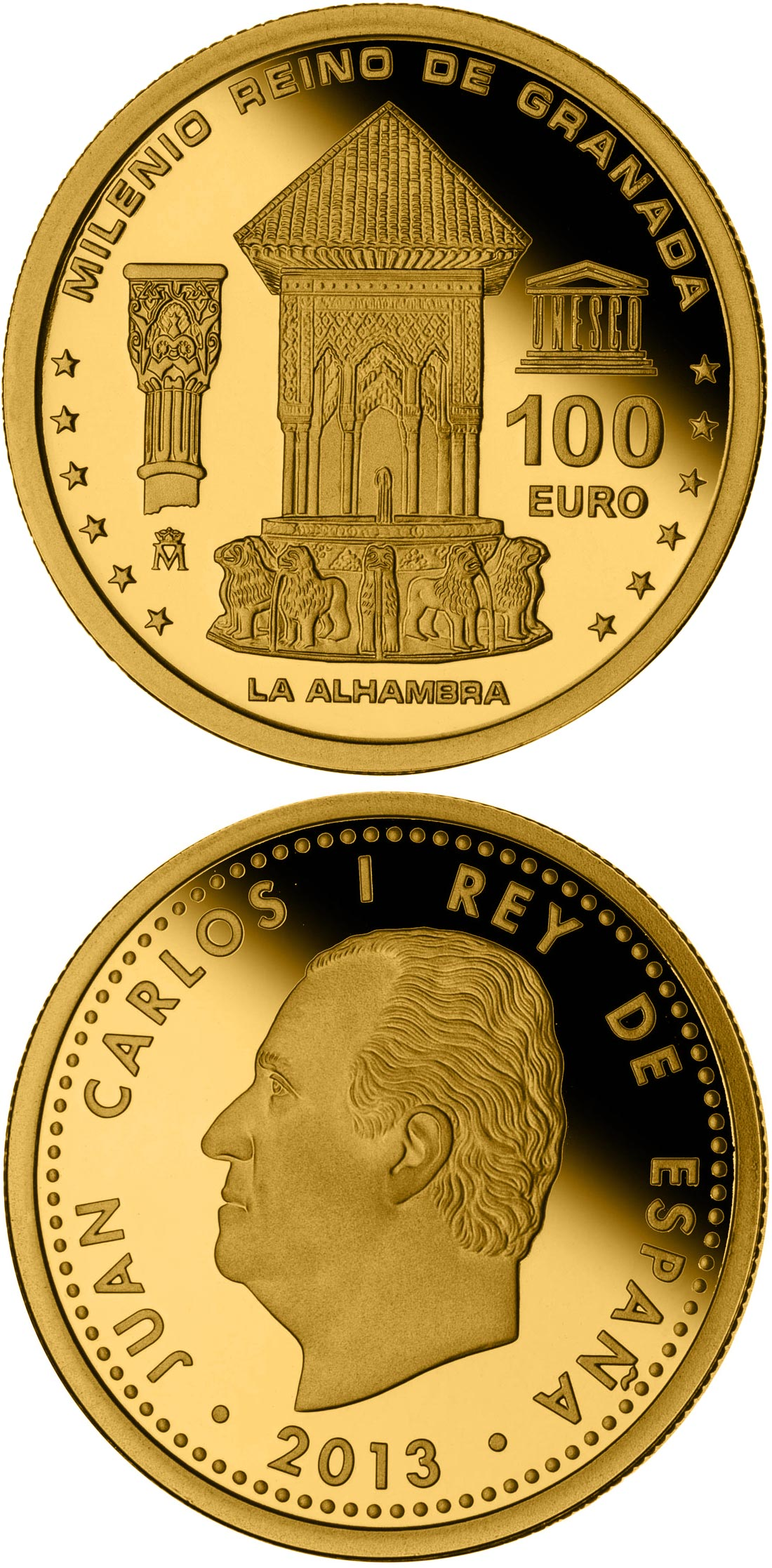 Image of 100 euro coin – Millennium of the Kingdom of Granada | Spain 2013.  The Gold coin is of Proof quality.