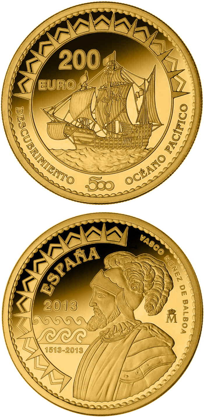 Image of 200 euro coin - 500th Anniversary of the Pacific Ocean | Spain 2013.  The Gold coin is of Proof quality.