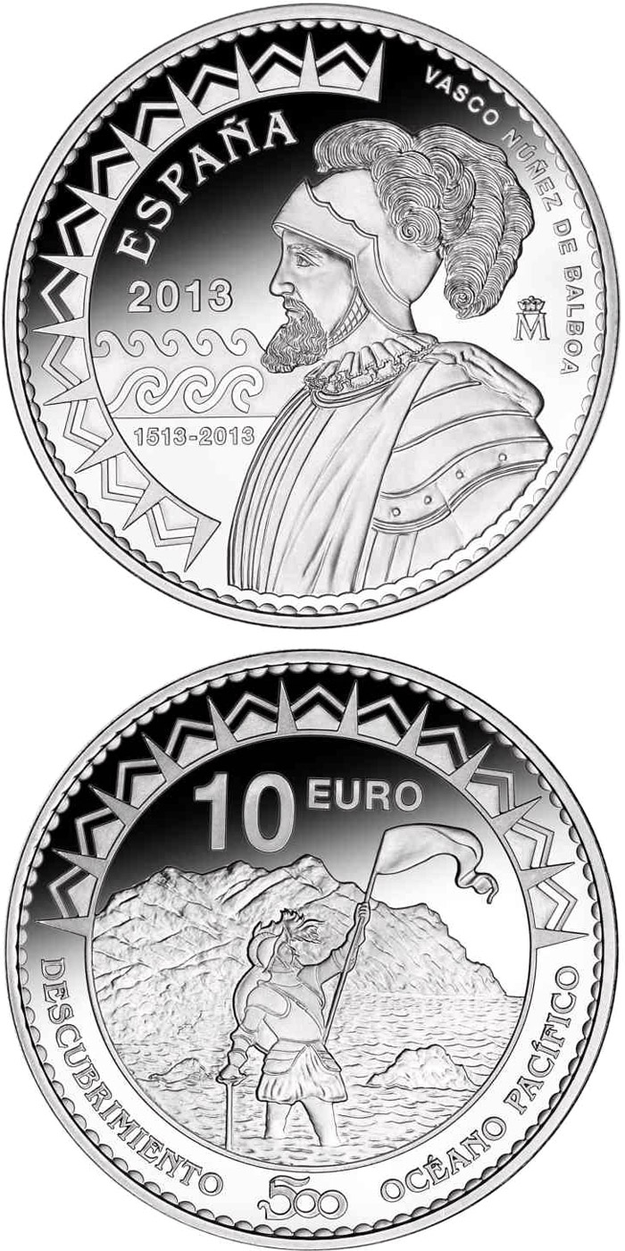Image of 10 euro coin - 500th Anniversary of the Pacific Ocean | Spain 2013.  The Silver coin is of Proof quality.