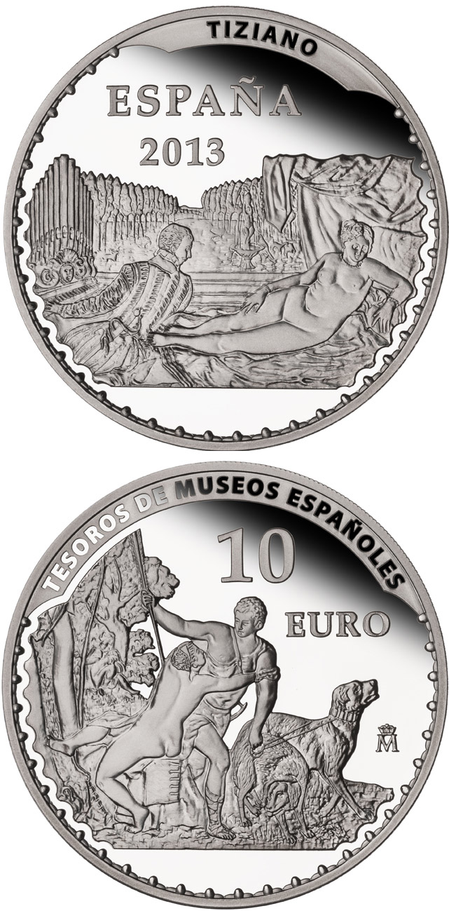 Image of 10 euro coin – Titian | Spain 2013.  The Silver coin is of Proof quality.
