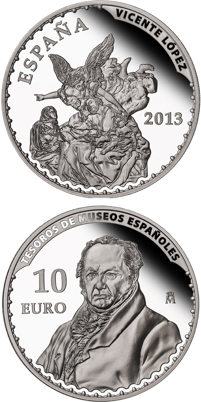 Image of Vicente López – 10 euro coin Spain 2013.  The Silver coin is of Proof quality.