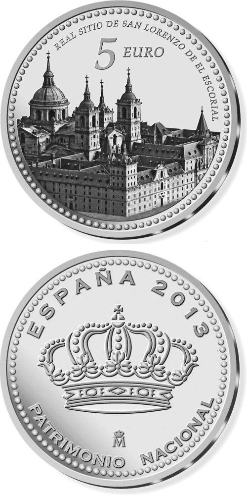 Image of 5 euro coin - Real Monasterio de San Lorenzo de El Escorial | Spain 2014.  The Silver coin is of Proof quality.