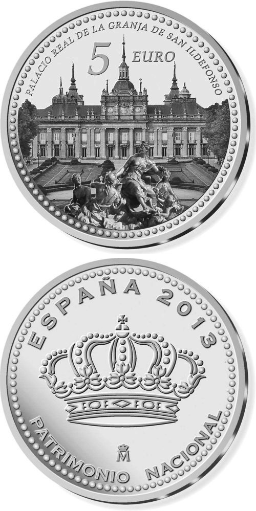 Image of 5 euro coin - Palacio Real de La Granja de San Ildefonso | Spain 2014.  The Silver coin is of Proof quality.