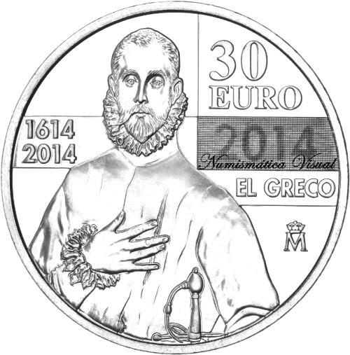 Image of a coin 30 euro | Spain | 400th Anniversary of El Greco  | 2014