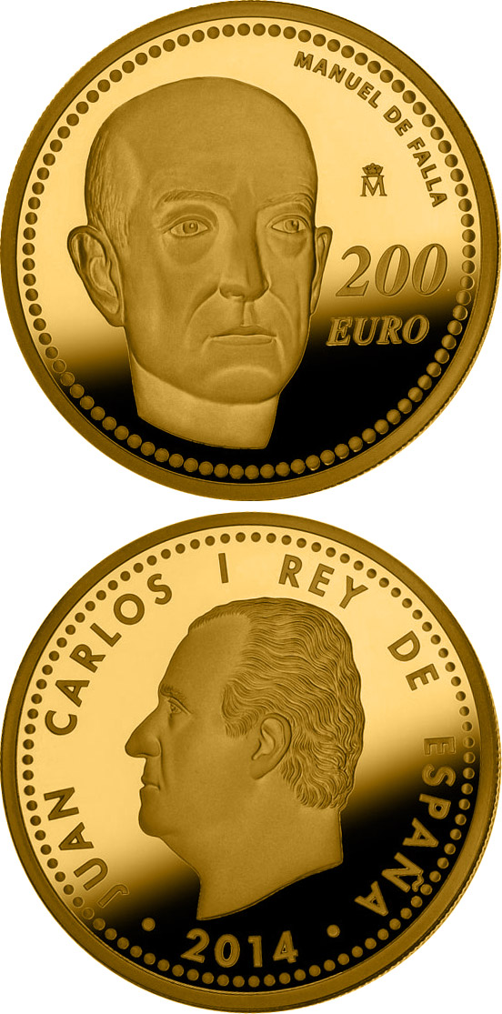 Image of 200 euro coin Manuel de Falla | Spain 2014.  The Gold coin is of Proof quality.