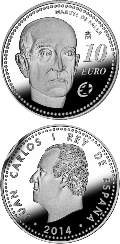 Image of 10 euro coin - Manuel de Falla | Spain 2014.  The Silver coin is of Proof quality.