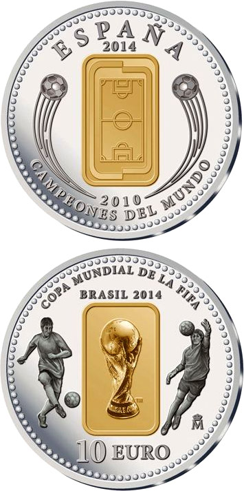 Image of 10 euro coin - FIFA 2014 : World Cup in Brazil | Spain 2014.  The Silver coin is of Proof quality.