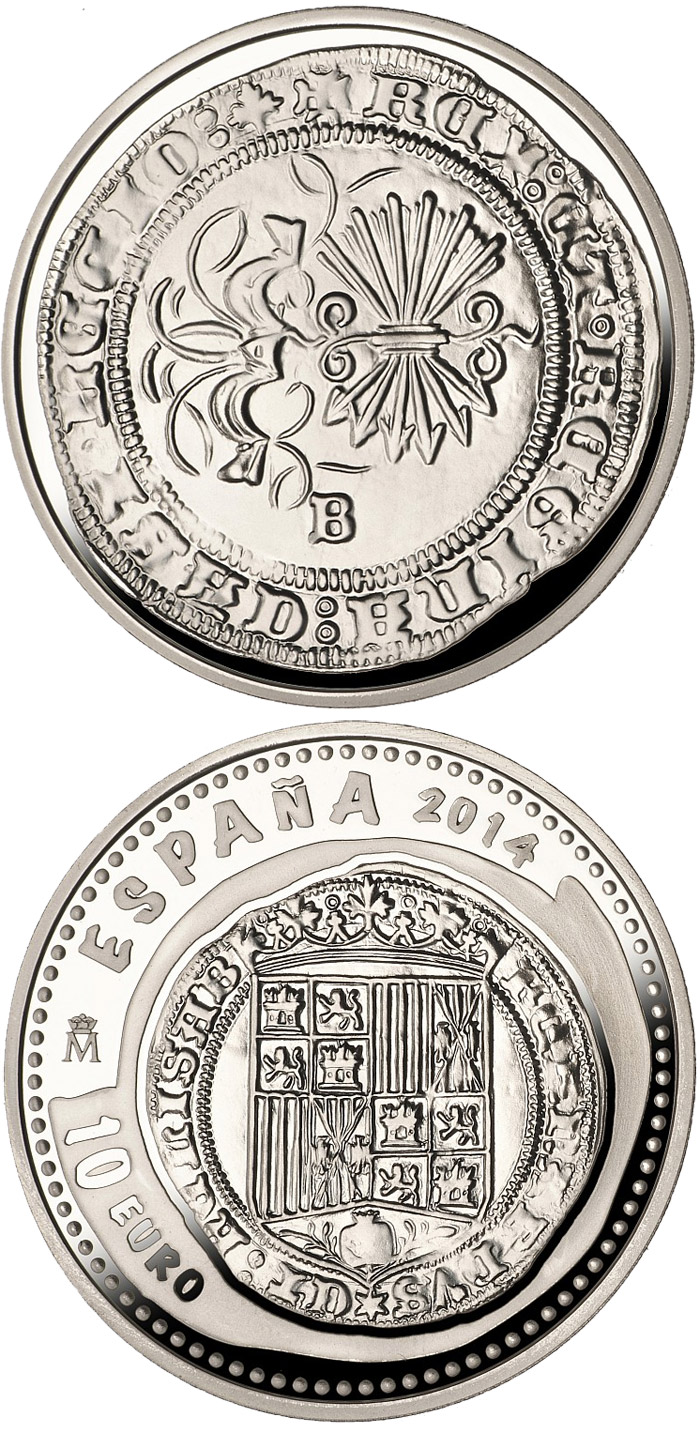 Image of 10 euro coin - 5th Series Numismatic Treasures: Queen Isabella | Spain 2014.  The Silver coin is of Proof quality.
